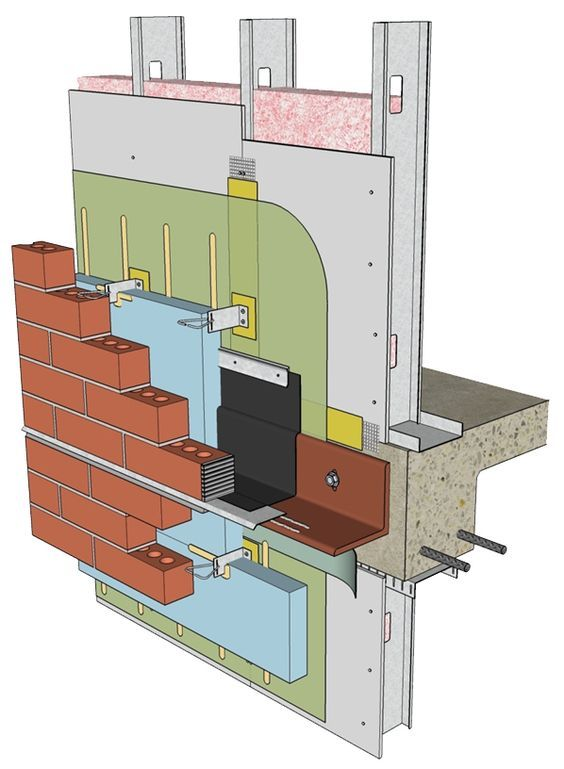 This Shows A Sample Detail Of A Wall Assembly Featuring A Fluid Applied Air Barrier With Continuous Insulation Under Masonr Brick Detail Brick Cladding Masonry