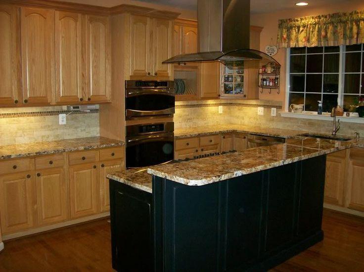 Medium Oak Cabinets With A Black Island Google Search