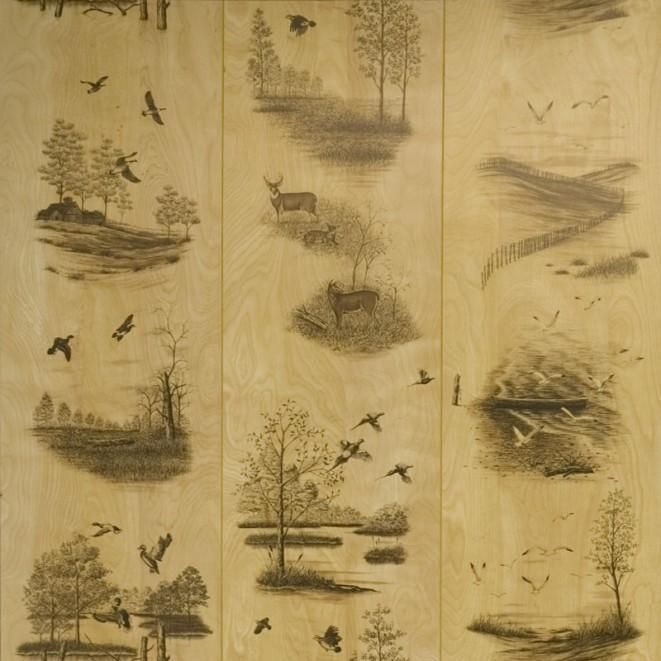 Wildlife Wall Paneling Rustic Panels Deer And Duck Interior