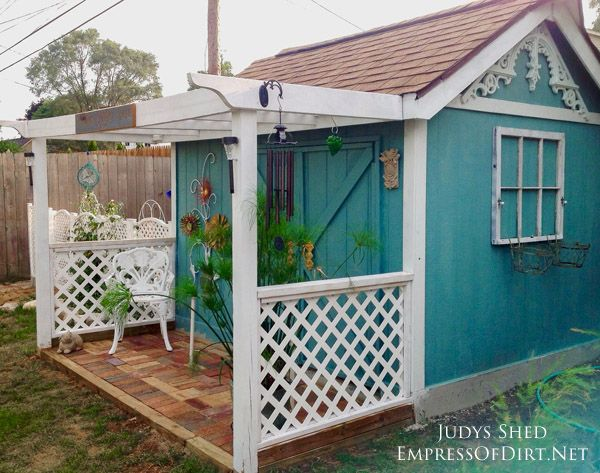 this thrifty backyard shed makeover by judy jones shows how you can turn a bland