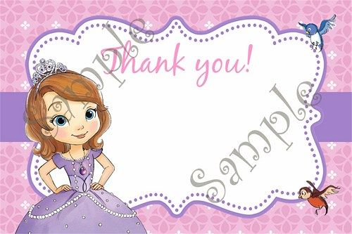 Sofia the first birthday party invitation free thank you card bookmarktalkfo Image collections