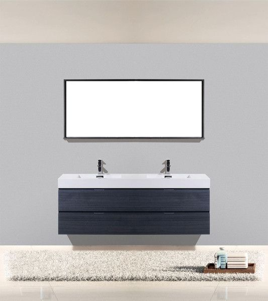 Miraculous Bliss 72 Grey Oak Wall Mount Modern Bathroom Vanity Double Home Interior And Landscaping Fragforummapetitesourisinfo