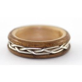 no beginning or end braided silver and teak wood engagement ring too beautiful - Badass Wedding Rings