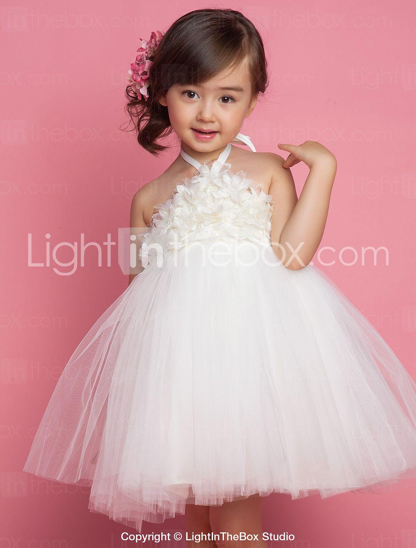 princesa de longitud de té vestido de niña de flores - satén Tulle ...