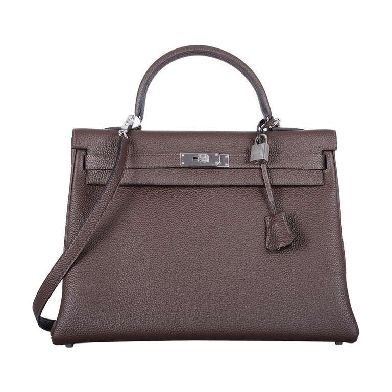 bb3b28e95b48 YUMMY HERMES KELLY BAG 35cm NEW CHOCOLATE CACAO WITH PHW TOGO ...