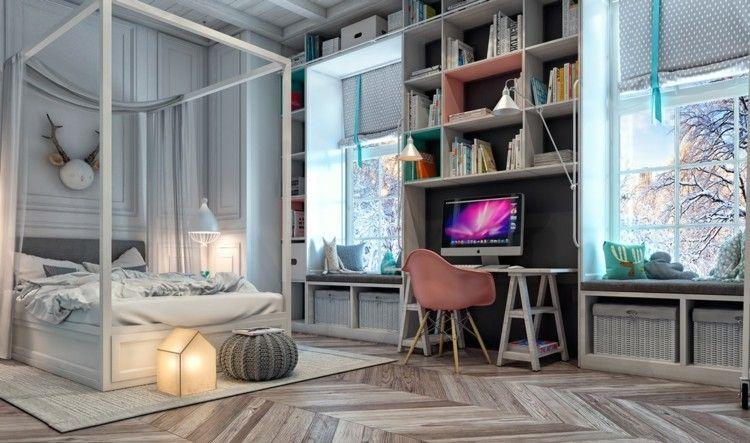 Elegant Moderne Jugendzimmer   Zwischen Den Fenstern Befindet Sich Der Schreibtisch  Mit Regalen
