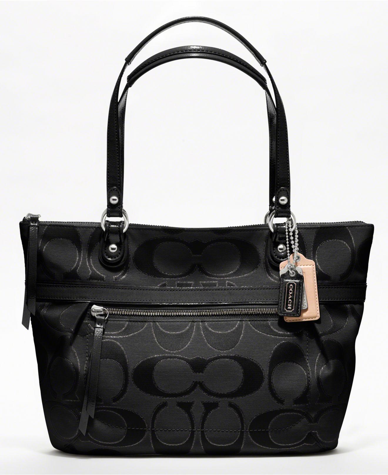 Coach Poppy Metallic Signature Sa Small Tote Handbags Macy S
