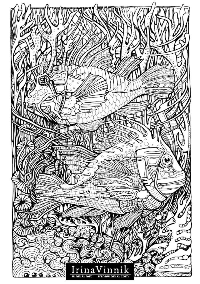 coloring books beautiful ornate artwork of fish by artist irina vinnik awesome