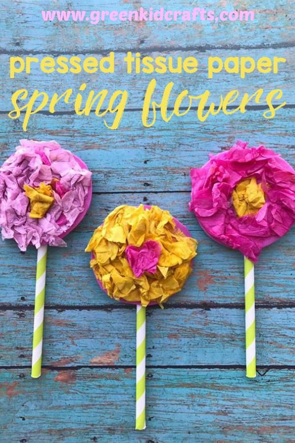 Tissue Paper Flowers Spring Craft For Kids Green Crafts For Kids