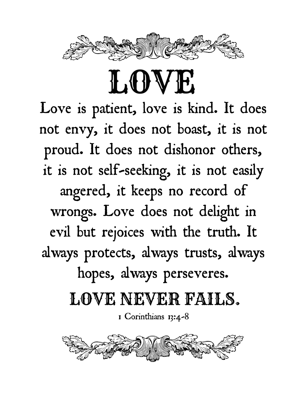 1 Corinthians 13, Love Bible Verses, Bible Verse Prints