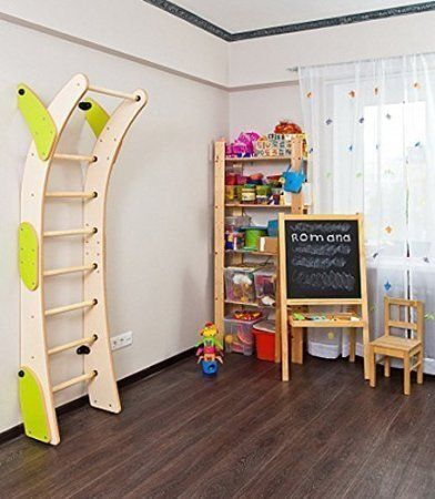 Childrens Indoor Home Gym Swedish Wall Playground Set For Kids With 8 Steps