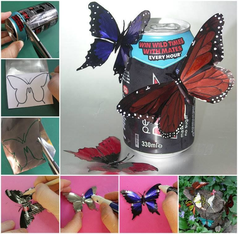 Drink Can Butterflies- very clever and pretty with full instructions on website.