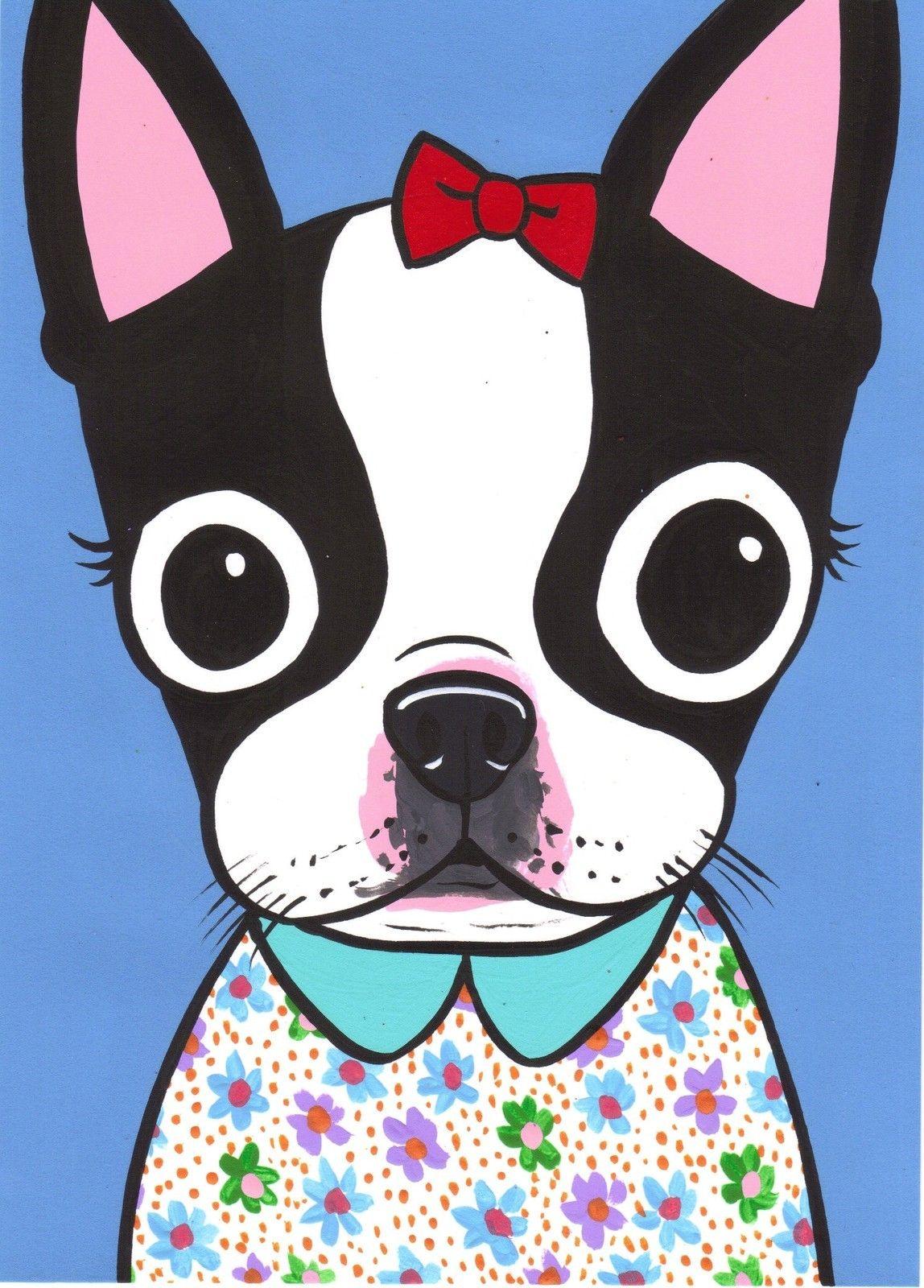 Ebay Print Boston Terrier Art Boston Terrier Dog Boston Terrier Illustration