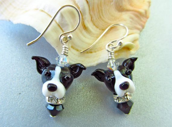 Greyhound Earrings  Lampwork Glass Bead by SUZOOM on Etsy, 38.00
