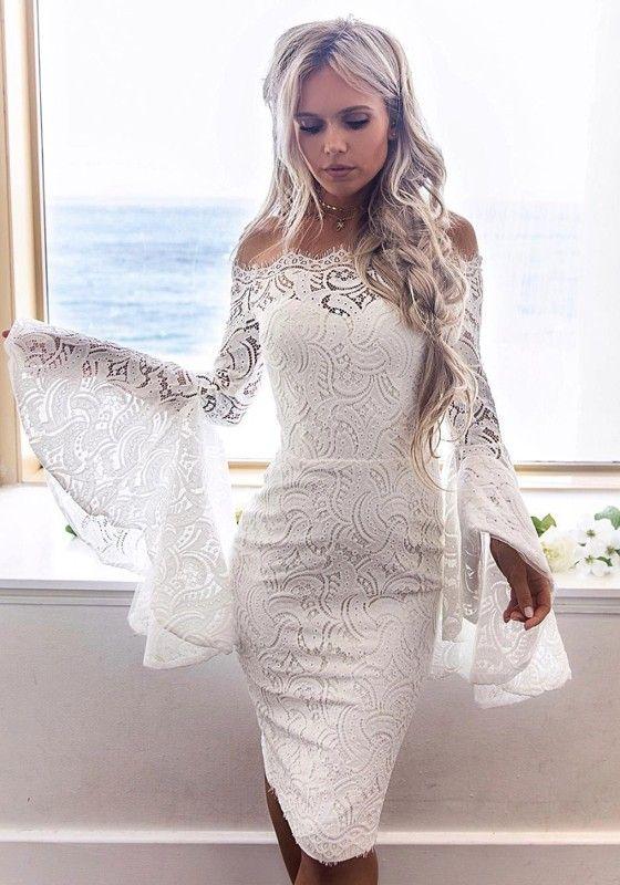 f7f60ffed65 Mi-longue robe en dentelle col bateau épaule dénudée manches trompette moulante  élégant blanc