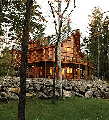 Lindal cedar homes summit olympic model in maine dream for Lindal log cabin homes