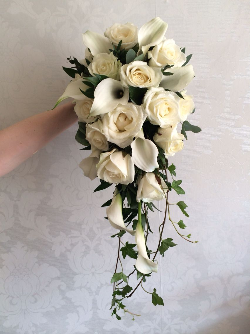 Gorgeous white calla lily jasmine cascading bridal bouquet white roses calla lily shower bouquet created by lily white florist dhlflorist Choice Image