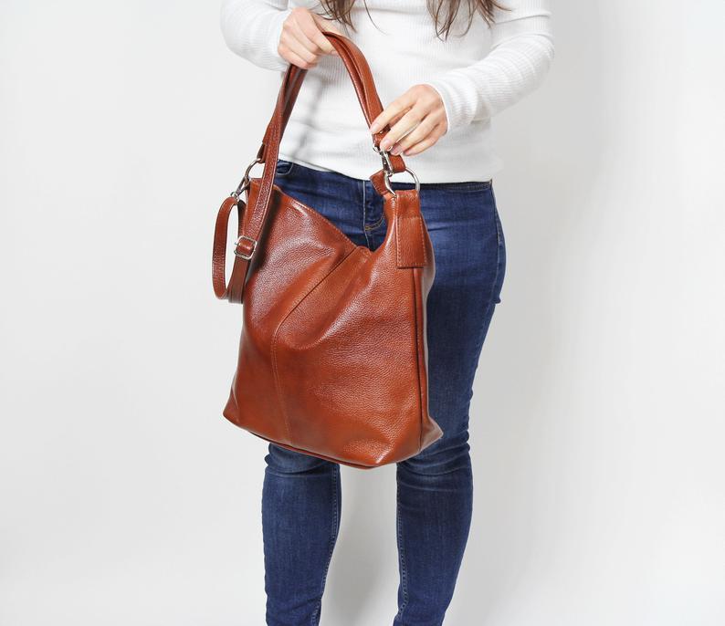 Brown LEATHER HOBO BAG, Cognac brown bag, Everyday Leather Shoulder Bag, Top Zipper Bag, Leather Sho