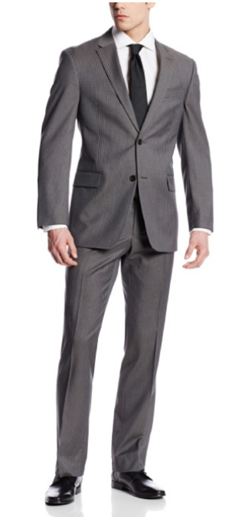 Tommy Hilfiger Men's Nathan Gray Stripe 2 Button Side Vent Suit