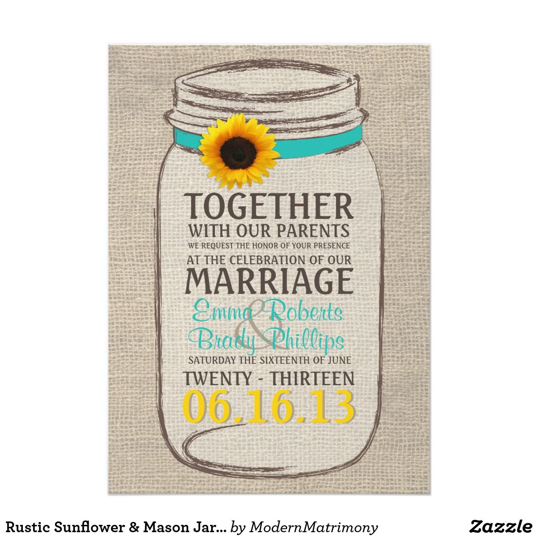Rustic Sunflower & Mason Jar Wedding Invitation Perfect for a rustic ...