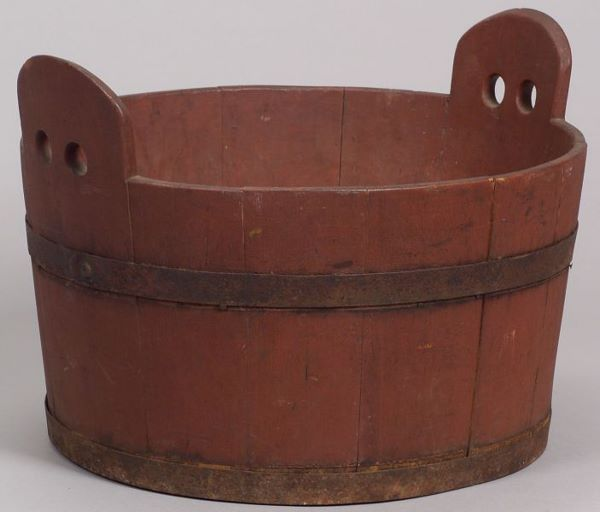 Red Painted Wooden Tub, America, 19th century, wo      Red Painted Wooden Tub, America, 19th century, wood stave and iron hoop constructed tub with pierced extended handles, ht. 12, dia. 17 3/8 in.