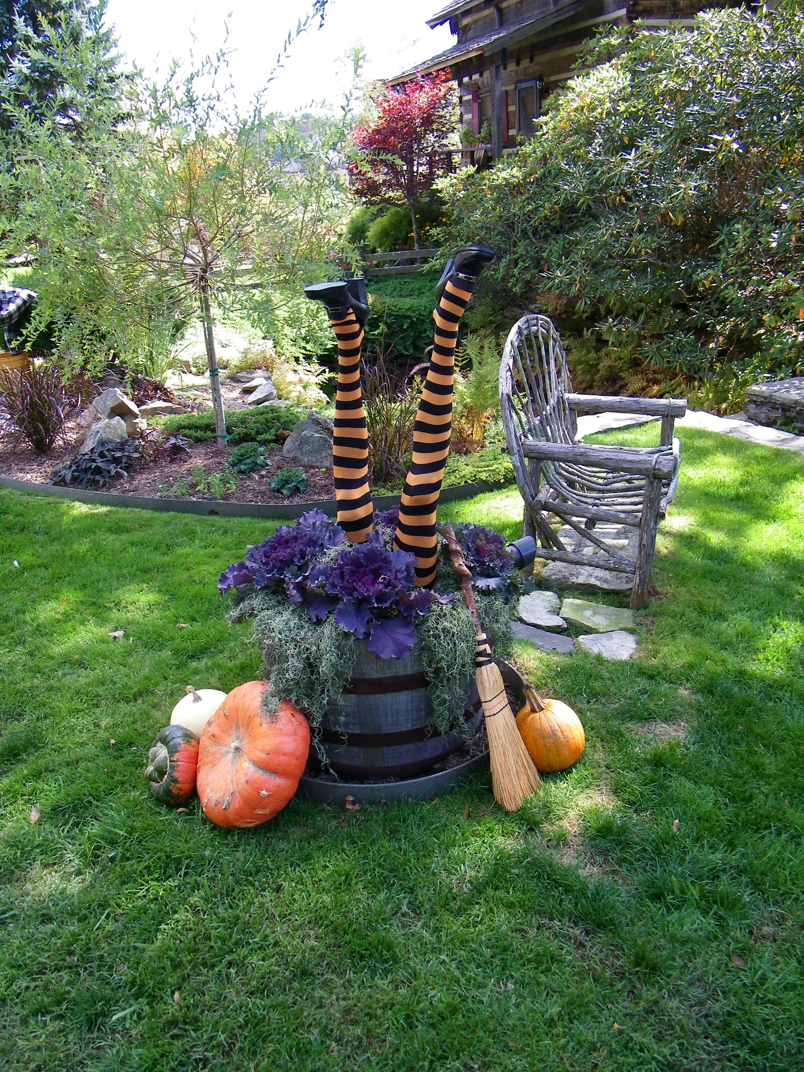Upside down witch in flower pot | flowergardengirl.com | Halloween ...
