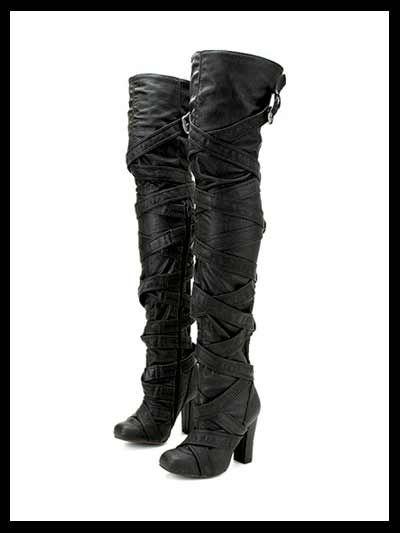 Thigh High Biker Boots - Yu Boots