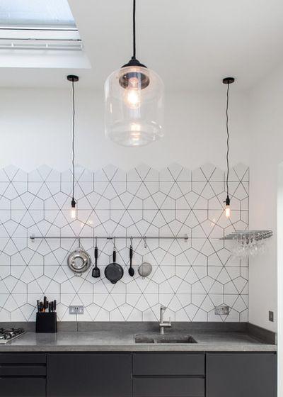 Geometric Tile Wall In A White Kitchen Modern Scandinavian Interior Kitchen Splashback Tiles House Interior