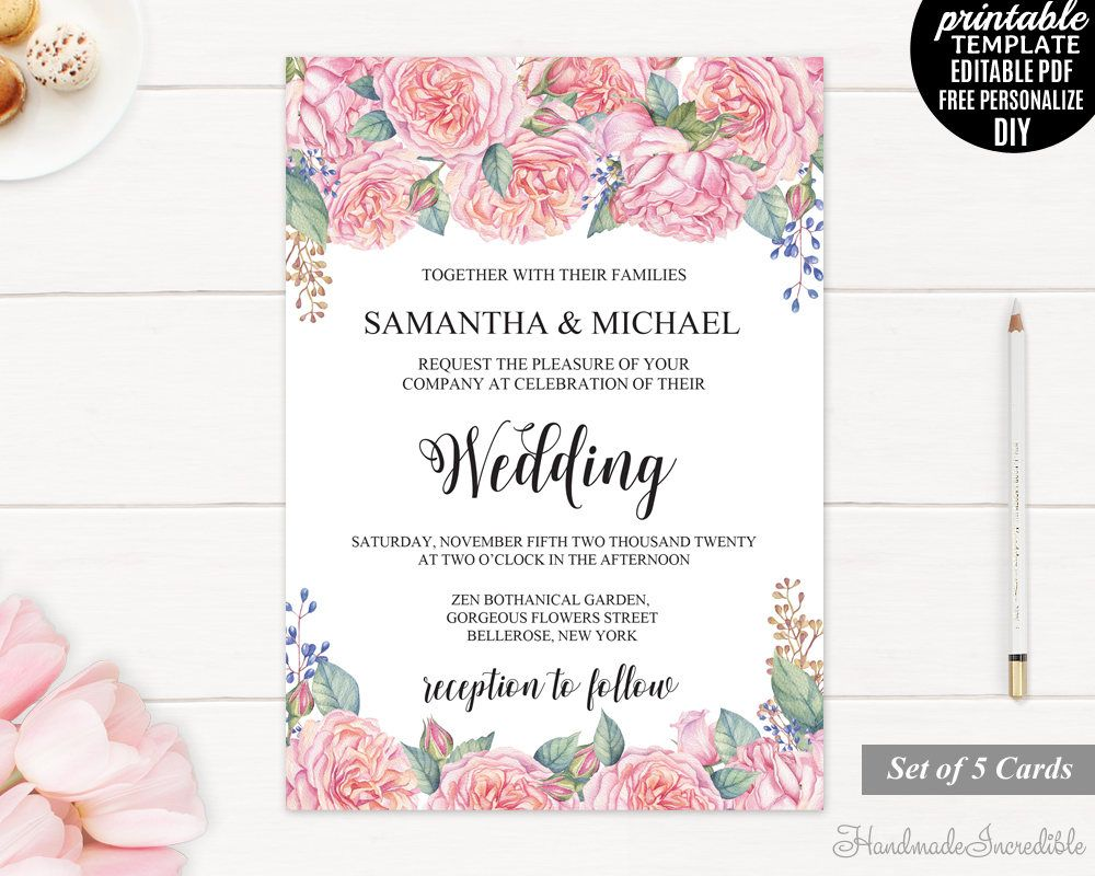 Pink Peony Wedding Invitation Set. Printable Floral Wedding ...