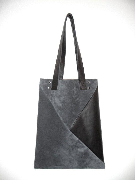 35789db74e27c Grau Schwarze Geometric-Ledertasche Shopper Schultertasche Lederbeutel aus  feinstem Rindernappa im geometrischen Design von Musterstück