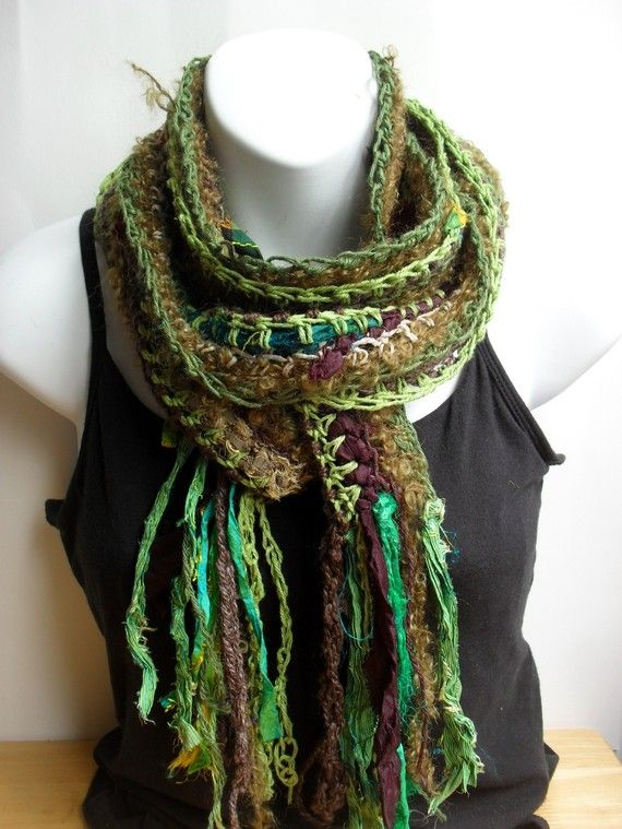 recycled sari ribbon scarf crochet loose, open weave scarf; weave ...
