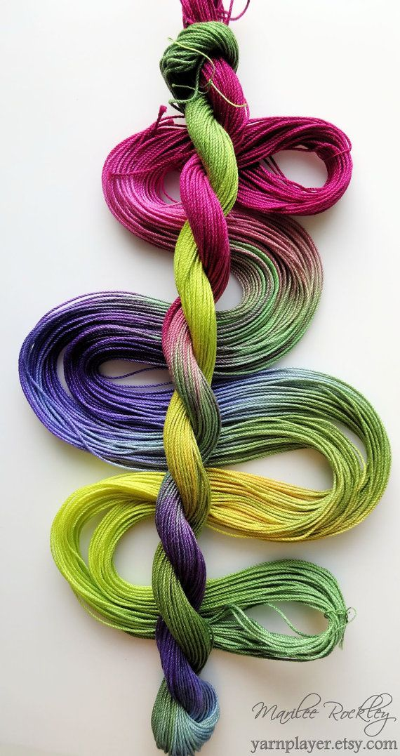 Size 10 Garden Afternoon hand dyed thread tatting by yarnplayer