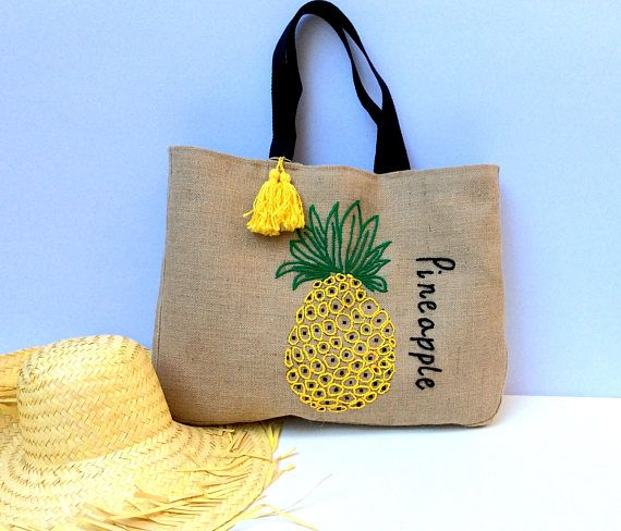 270a9a86a Pineapple embroidered jute tote bag, bohemian inspired, handmade ...