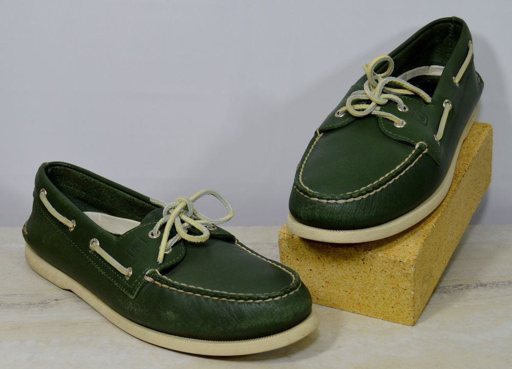 Sperry Top Sider Green Leather Boat