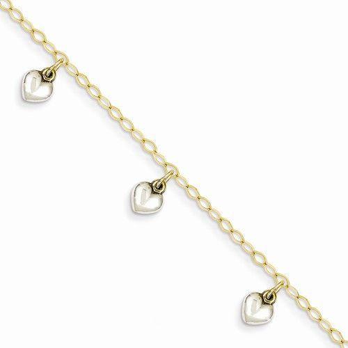 Two Tone Gold Children Heart Charm Bracelet Gemologica A Fine Online Jewelry Kids Silver Bracelets Child