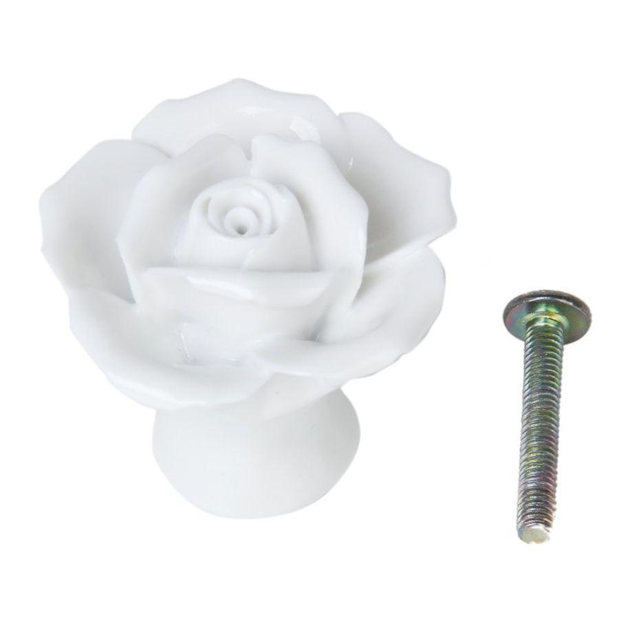 x rose flower ceramic kitchen furniture cabinet cupboard handle