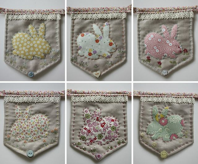 sweet bunny bunting. Old jean pockets with appliqué would cute.