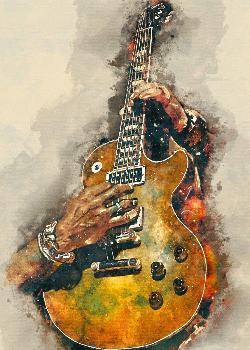 Slash S Electric Guitar Metal Poster Print Abraham Szomor Displate Guitar Wall Art Music Wall Art Music Painting