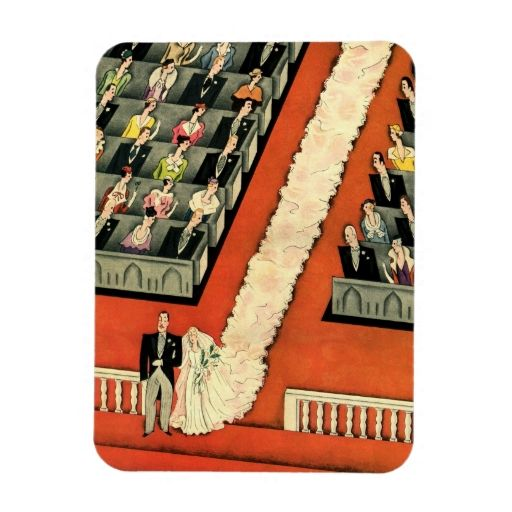 Vintage Art Deco Wedding, Bride Groom Newlyweds Vinyl Magnet
