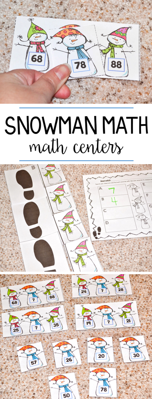 Snowman math centers for first grade! These winter math activities practice measurement, skip counting, story problems, and more!