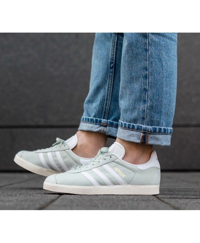 Adidas Gazelle W Linen Green White Trainers Clearance