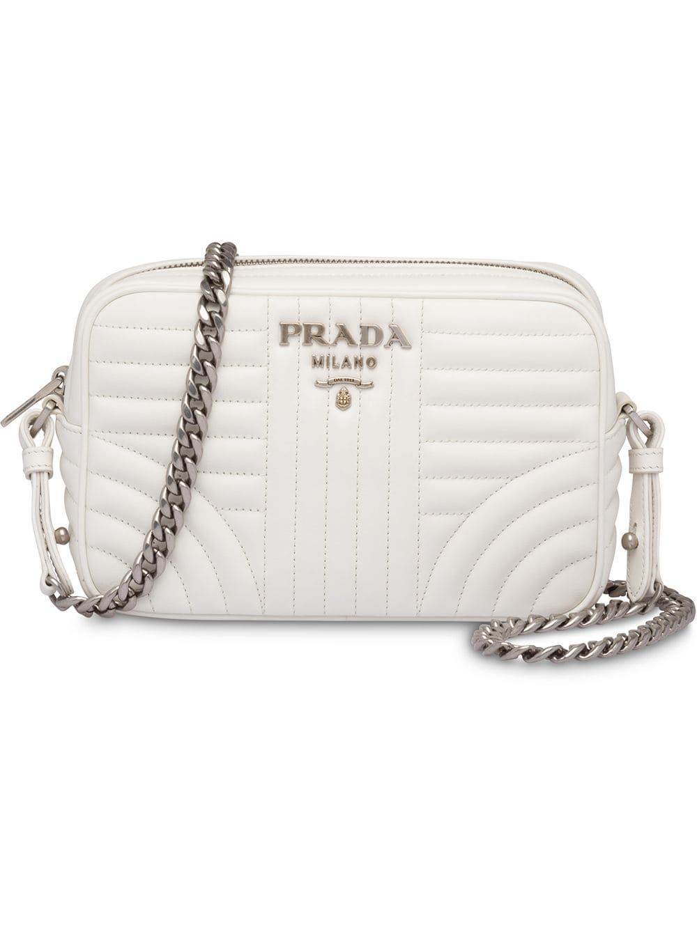307e4ddb4eb30d PRADA PRADA DIAGRAMME LEATHER CROSS-BODY BAG - WHITE. #prada #bags  #shoulder bags #leather