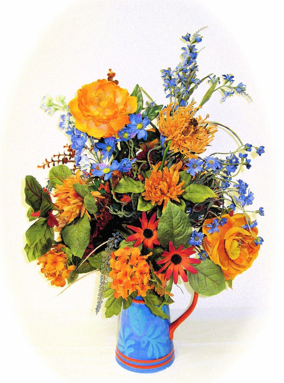 Spring Silk Wildflower Arrangement Silk Orange And Blue Approx 24