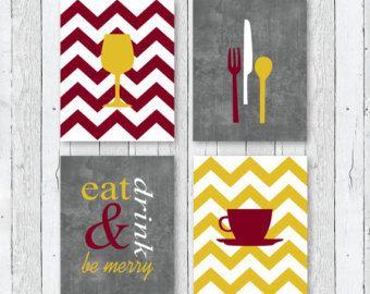 Modern Kitchen Art Prints Eat Drink Be Merry Burgundy
