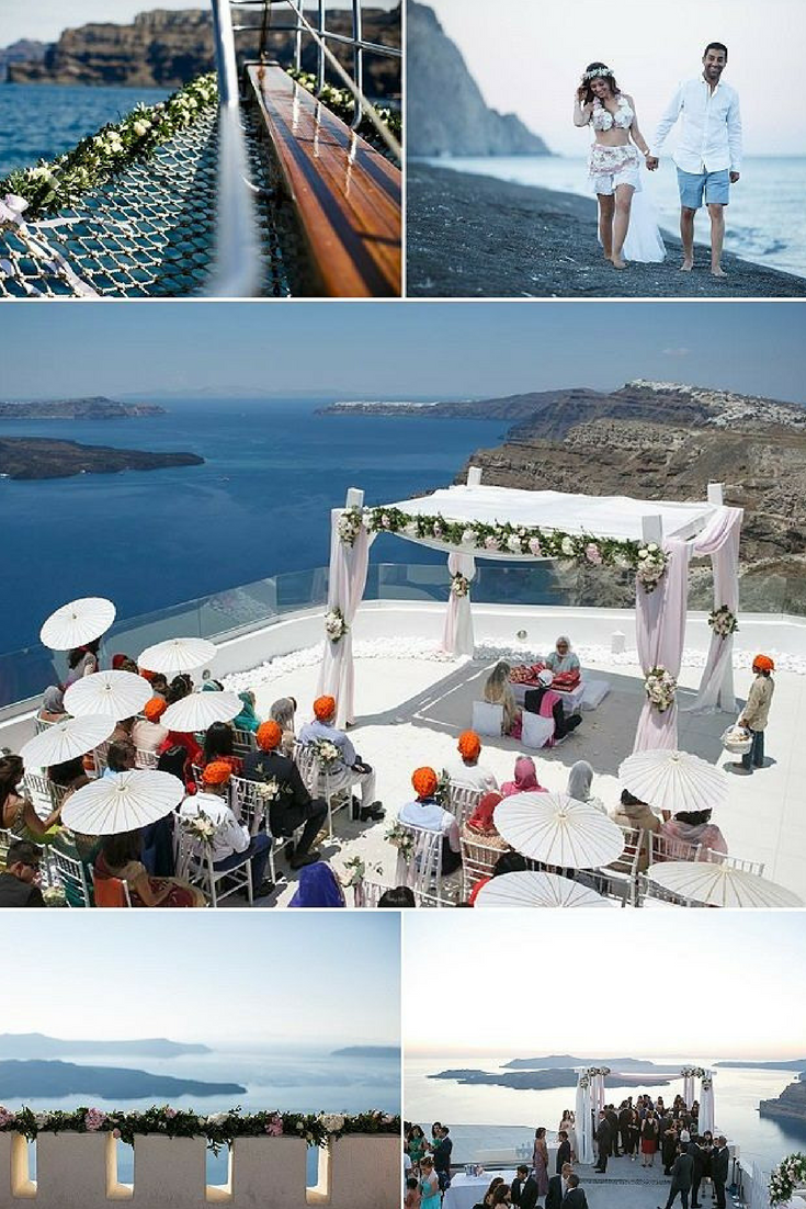 325fa8b1a4c Gorgeous Indian Wedding Inspiration on the Greek Island of Santorini with a  breathtaking view from Santos