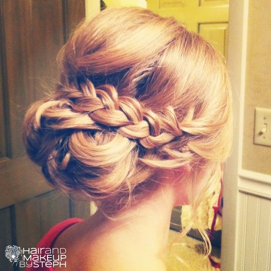Braided Up-Do - This would be so cute on the river this summer! @Ashley Walters Chambers @Ashley Walters Kliethermes @Kelly Teske Goldsworthy Vogt @Sarah Chintomby Verhoff