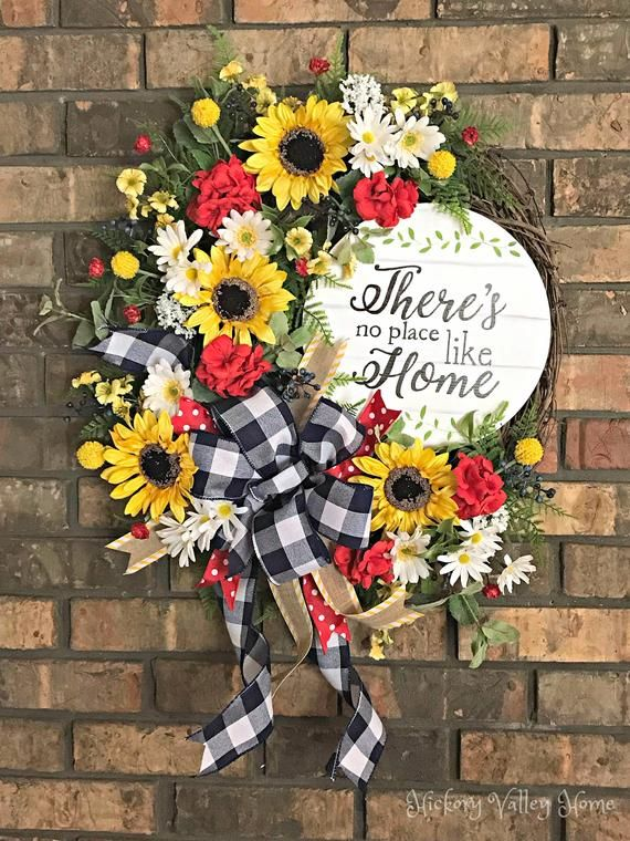 Photo of Large summer wreath, summer wine wreath, summer booty, front door wreath, sunflowers and daisies, no place like home, farmhouse style