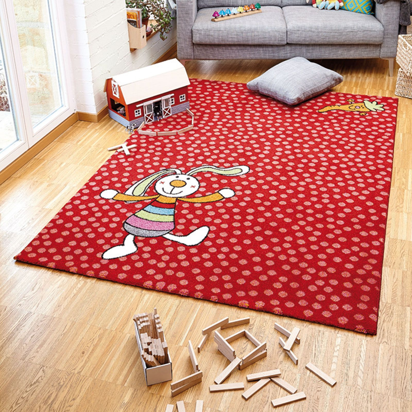Rainbow Rabbit Rug In Red 0523
