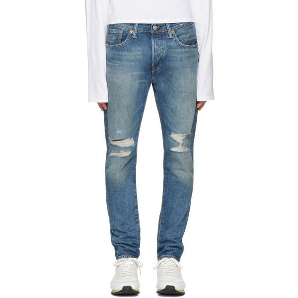Levis Blue 501 Skinny Jeans ($76) ❤ liked on Polyvore featuring ...