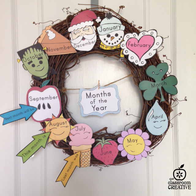Move over boring months' poster! How about a months's wreath? Jazz up your calendar area this year with this must-have display idea!